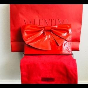 Valentino Nuage Red Bow Clutch
